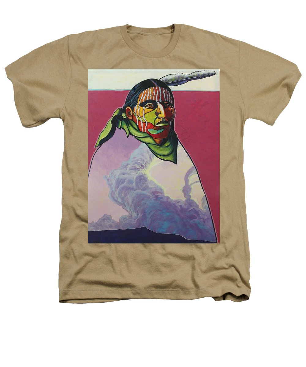 Native American Indian Heathers T-Shirt featuring the painting Body And Soul by Joe Triano
