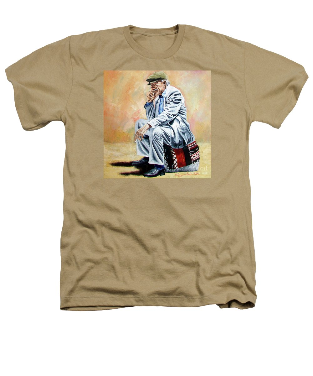 Figurative Heathers T-Shirt featuring the painting Break For Smoking - Apeadero Para Fumar by Rezzan Erguvan-Onal