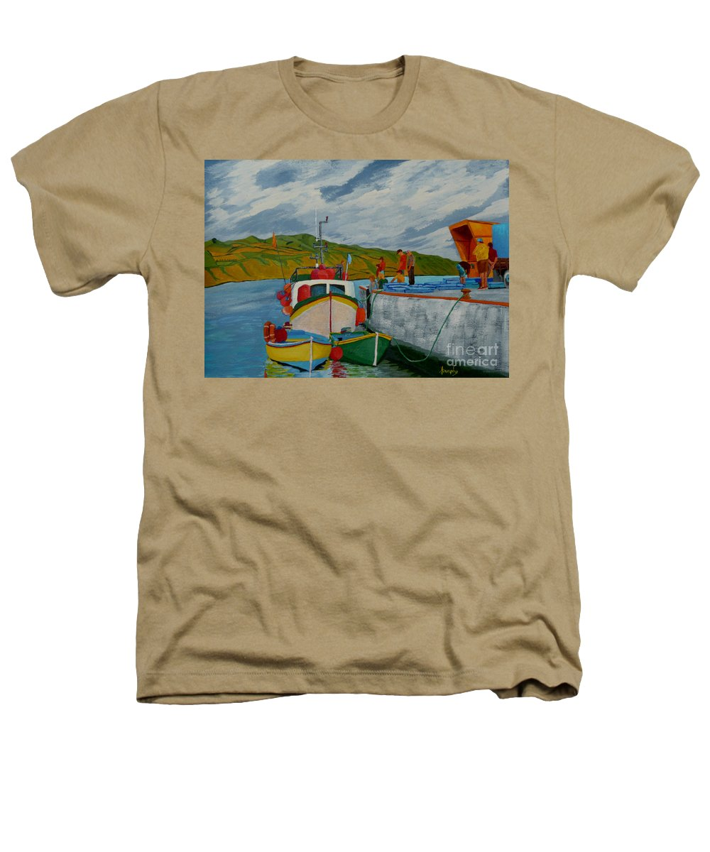 Boats Heathers T-Shirt featuring the painting Catch Of The Day by Anthony Dunphy