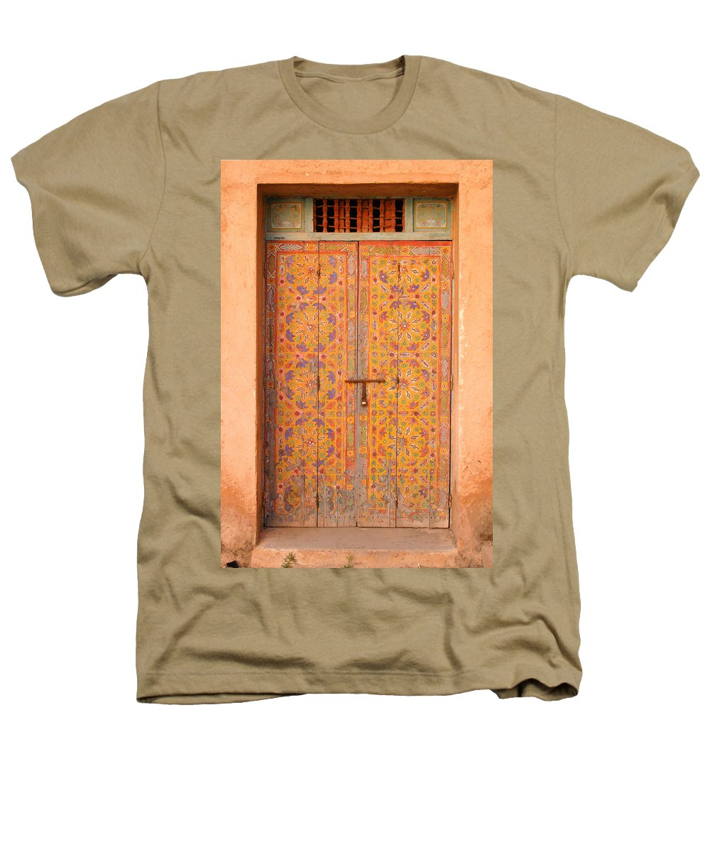 Door Heathers T-Shirt featuring the photograph Colourful Entrance Door Sale Rabat Morocco by Ralph A Ledergerber-Photography
