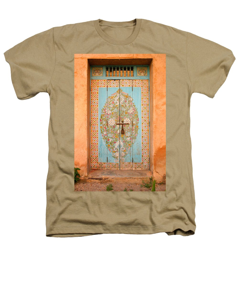 Door Heathers T-Shirt featuring the photograph Colourful Moroccan Entrance Door Sale Rabat Morocco by Ralph A Ledergerber-Photography