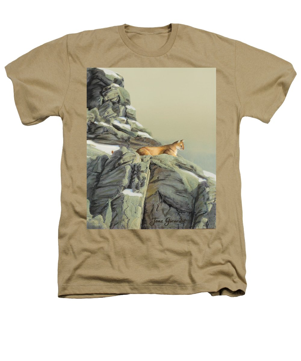 Cougar Heathers T-Shirt featuring the painting Cougar Perch by Jane Girardot