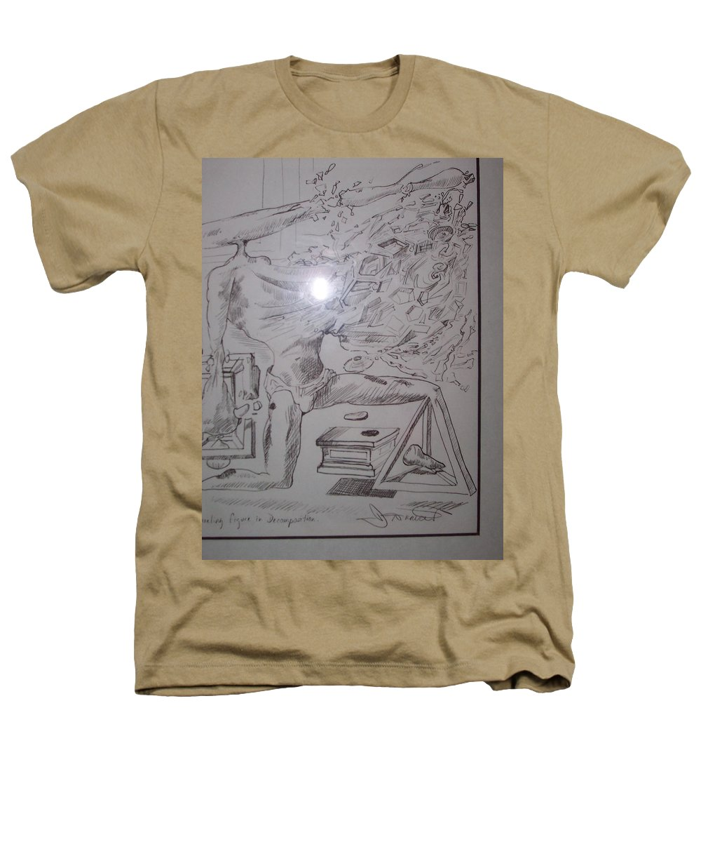 Heathers T-Shirt featuring the painting Decomposition Of Kneeling Man by Jude Darrien