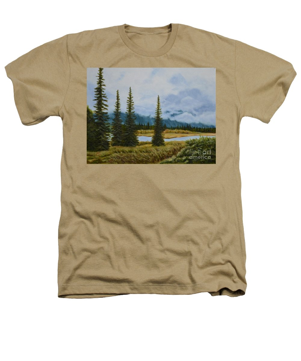 Usa Heathers T-Shirt featuring the painting Denali Morning by Mary Rogers