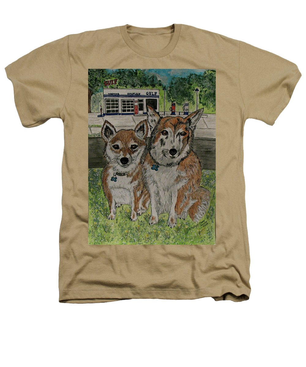 Dogs Heathers T-Shirt featuring the painting Dogs In Front Of The Gulf Station by Kathy Marrs Chandler