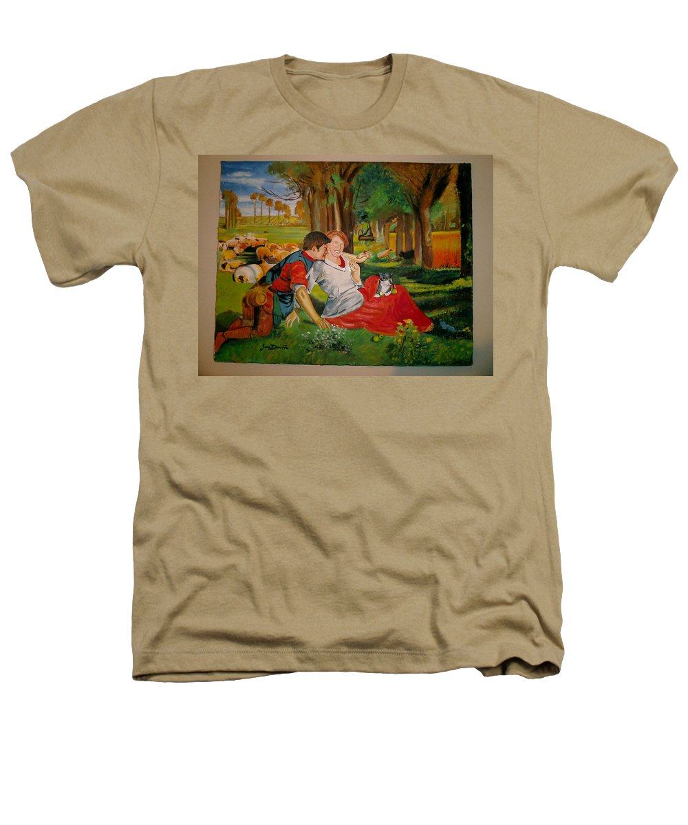 Heathers T-Shirt featuring the painting double portrait of freinds Gunner and Jessie by Jude Darrien