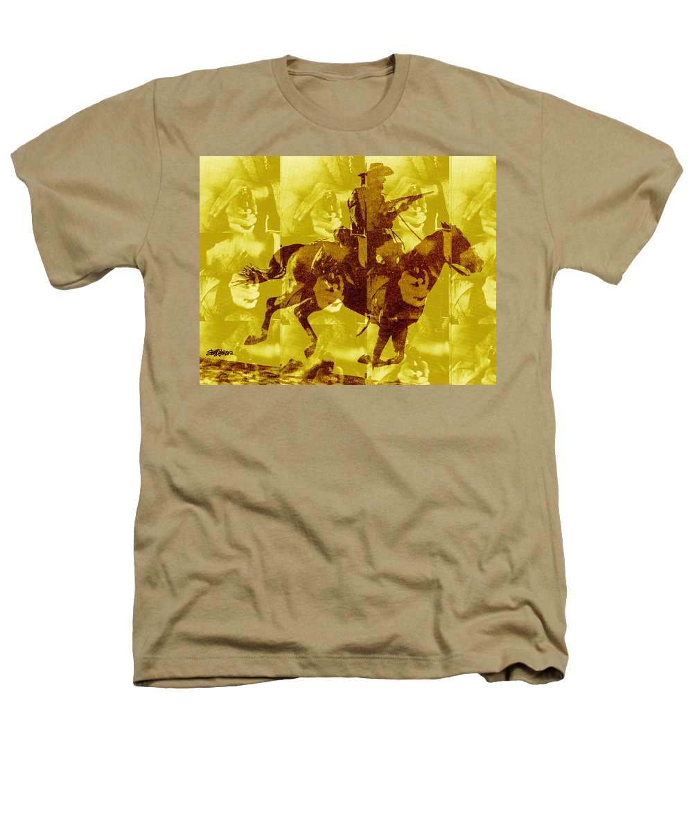 Clint Eastwood Heathers T-Shirt featuring the digital art Duel In The Saddle 1 by Seth Weaver