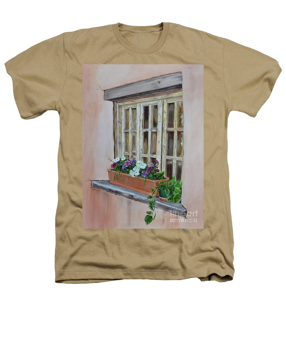 Adobe Heathers T-Shirt featuring the painting Elayne Look Through The Window by Mary Rogers