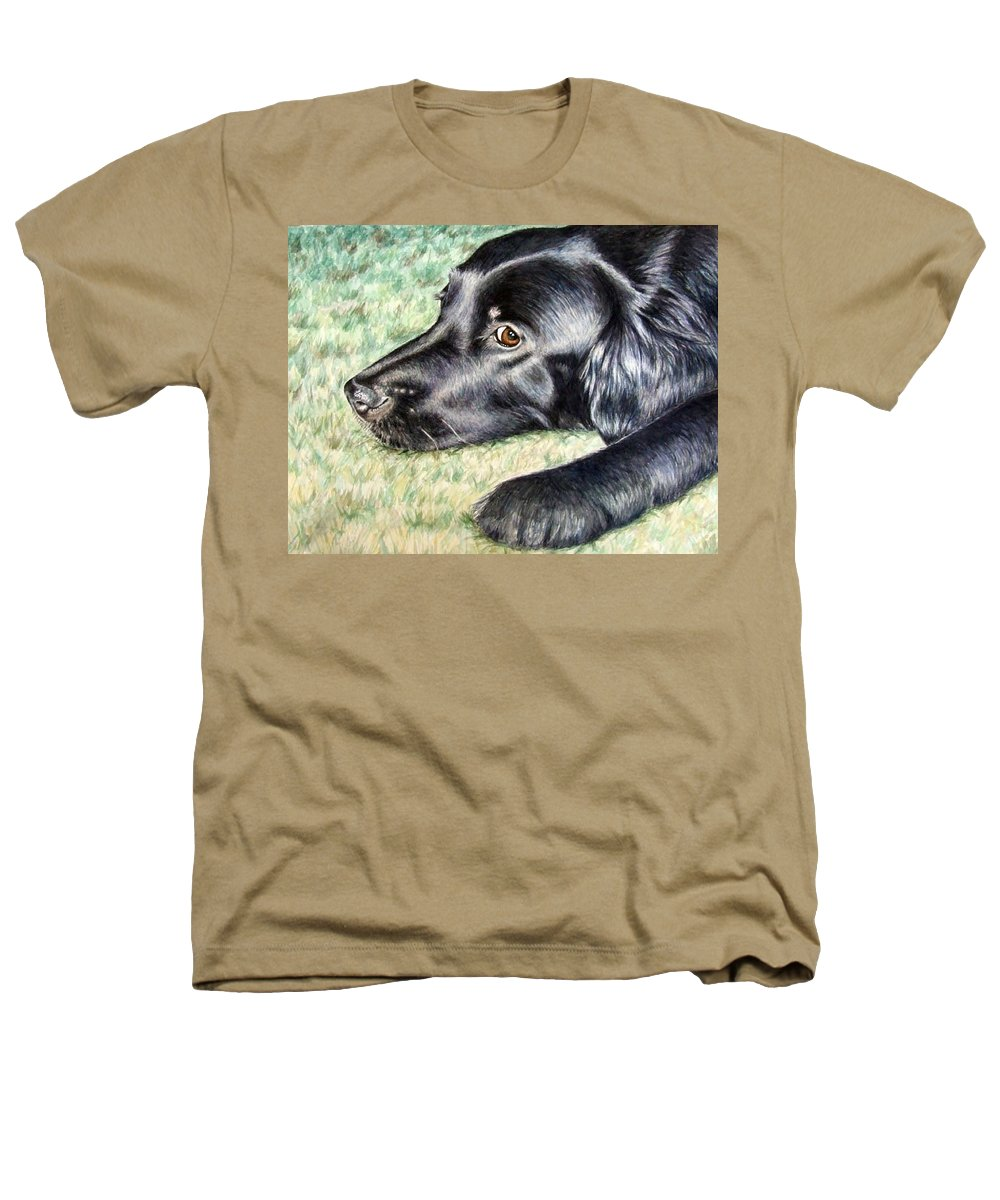 Dog Heathers T-Shirt featuring the painting Flat Coated Retriever by Nicole Zeug