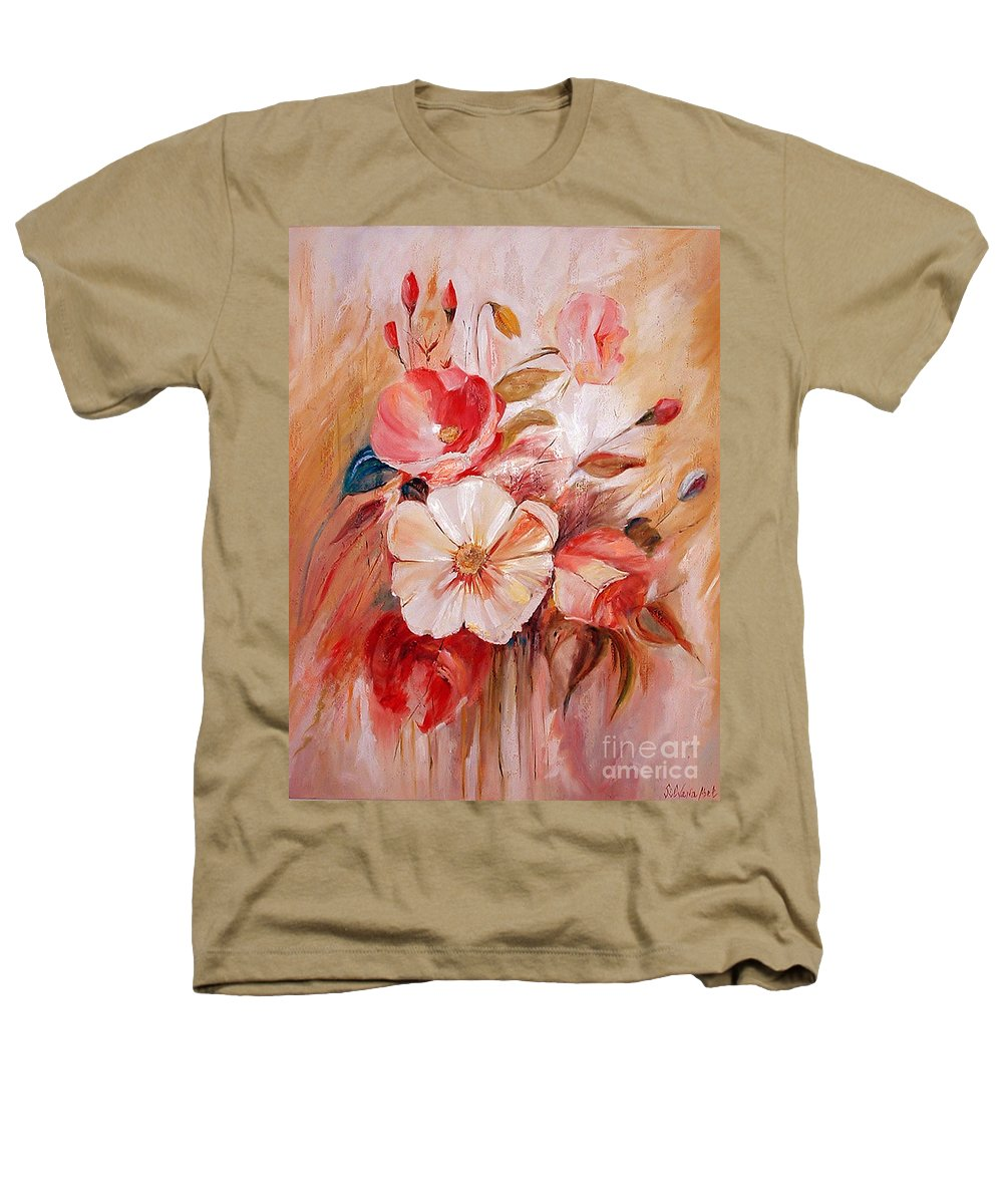Modern Art Heathers T-Shirt featuring the painting Flowers I by Silvana Abel
