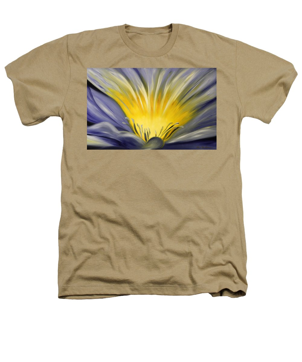 Blue Heathers T-Shirt featuring the painting From The Heart Of A Flower Blue by Gina De Gorna