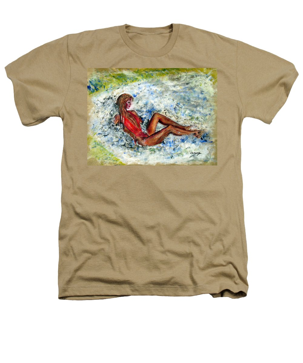Girl Heathers T-Shirt featuring the painting Girl In A Red Swimsuit by Tom Conway