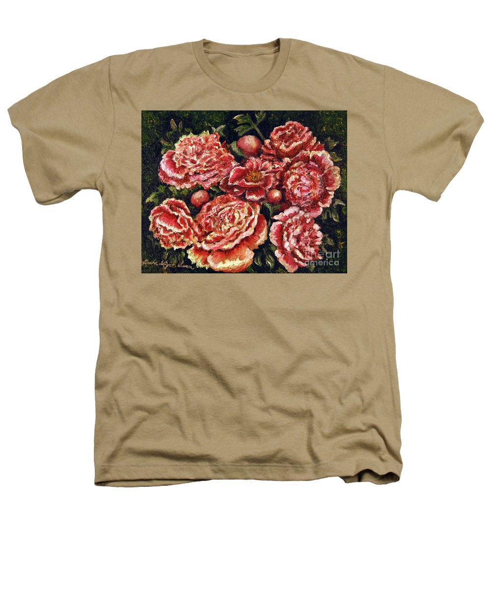Pink Heathers T-Shirt featuring the painting Grandma Lights Peonies by Linda Simon