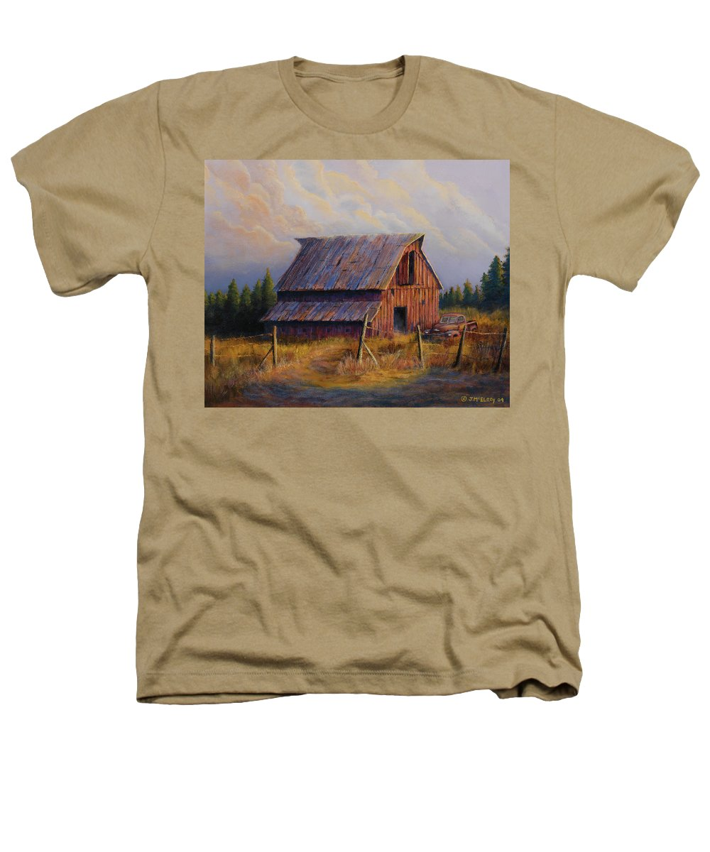 Barn Heathers T-Shirt featuring the painting Grandpas Truck by Jerry McElroy