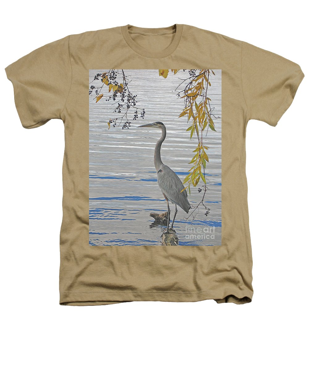 Heron Heathers T-Shirt featuring the photograph Great Blue Heron by Ann Horn