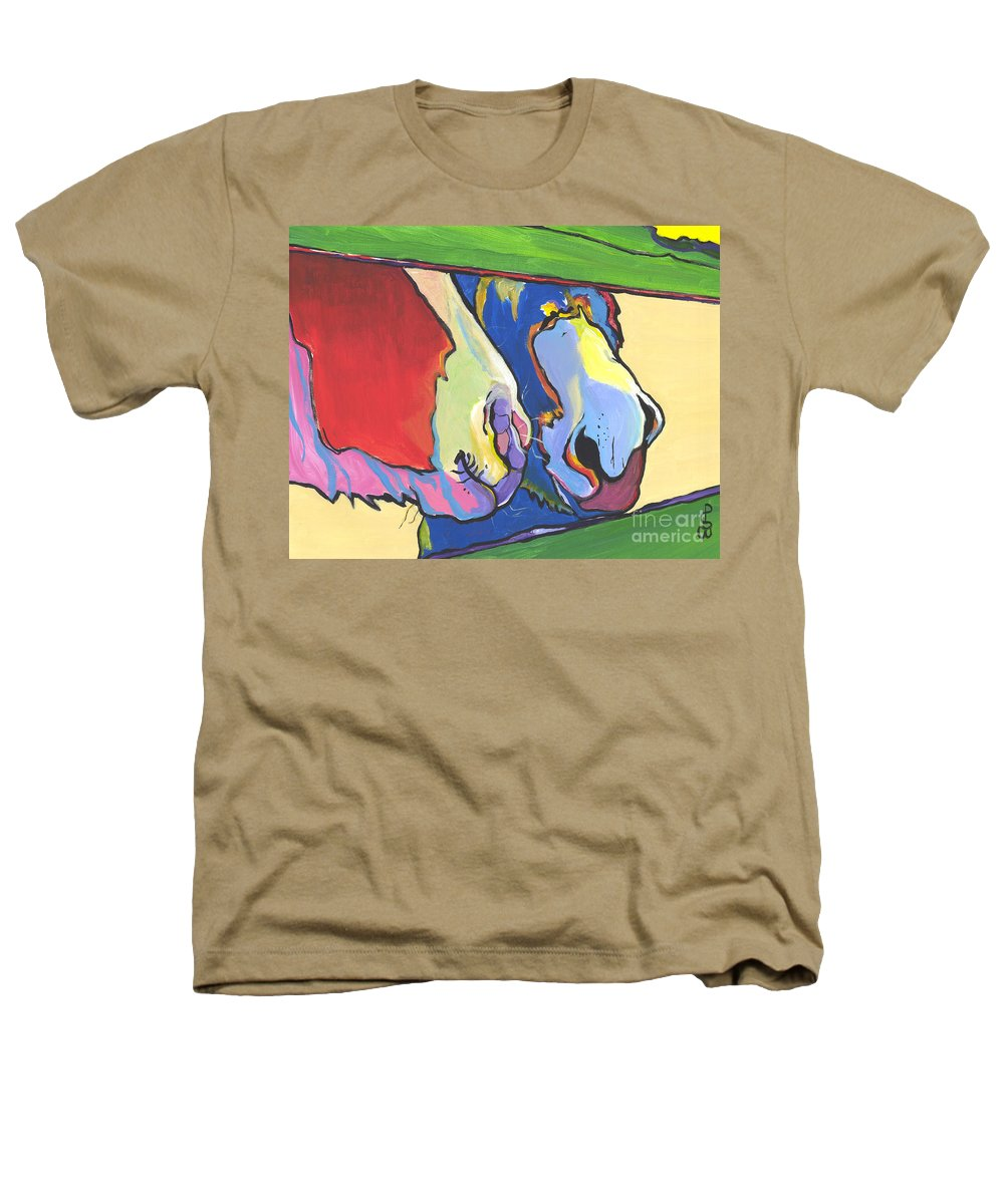 Pat Saunders-white Canvas Prints Heathers T-Shirt featuring the painting Green Fence by Pat Saunders-White