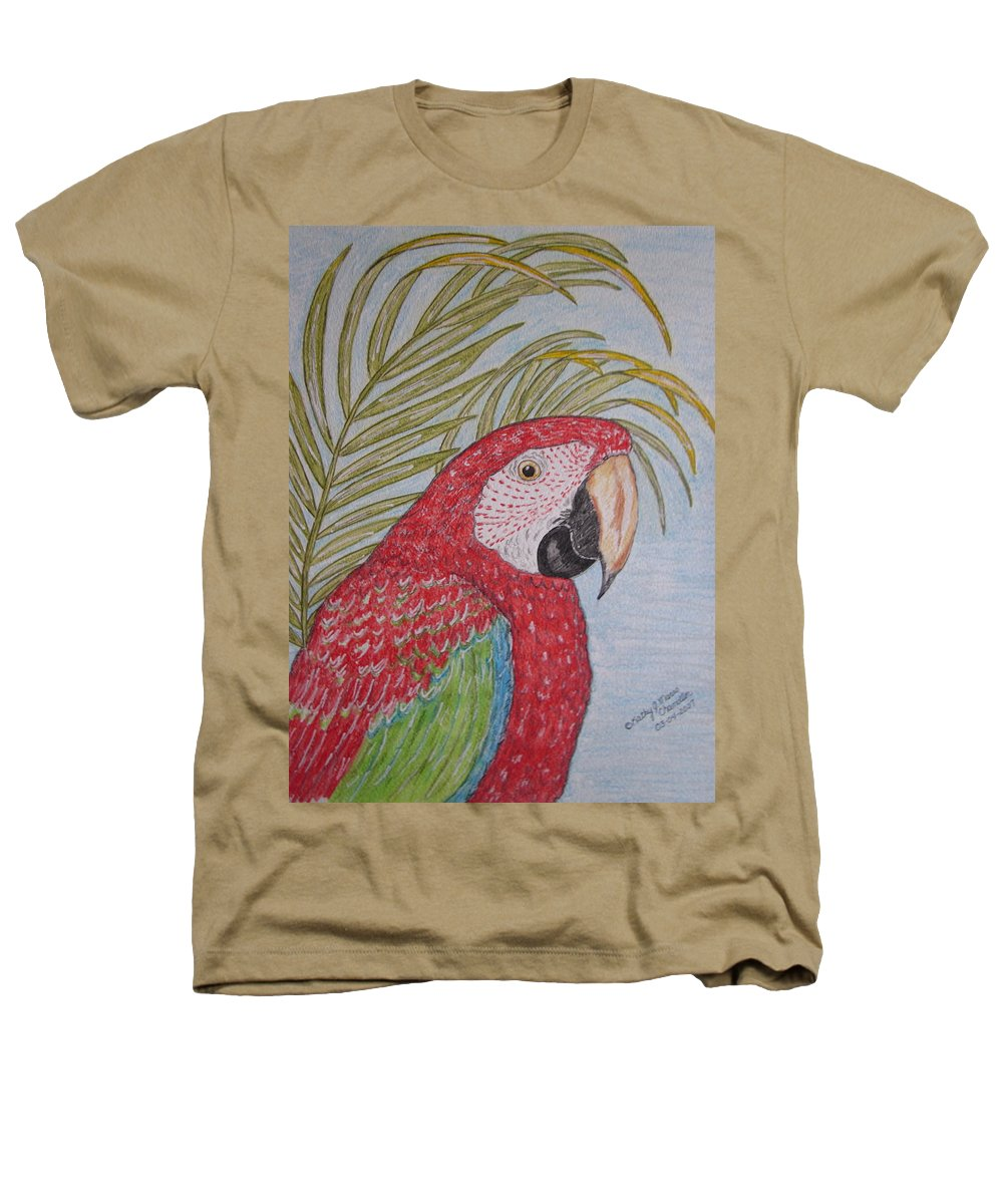 Green Wing Macaw Heathers T-Shirt featuring the painting Green Winged Macaw by Kathy Marrs Chandler