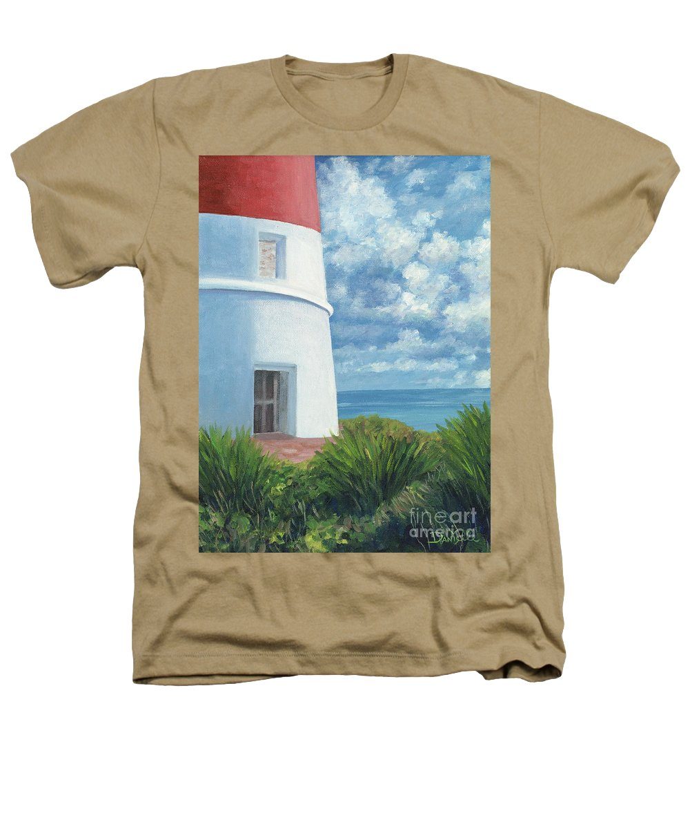 Seascape Heathers T-Shirt featuring the painting Gun Cay Lighthouse by Danielle Perry