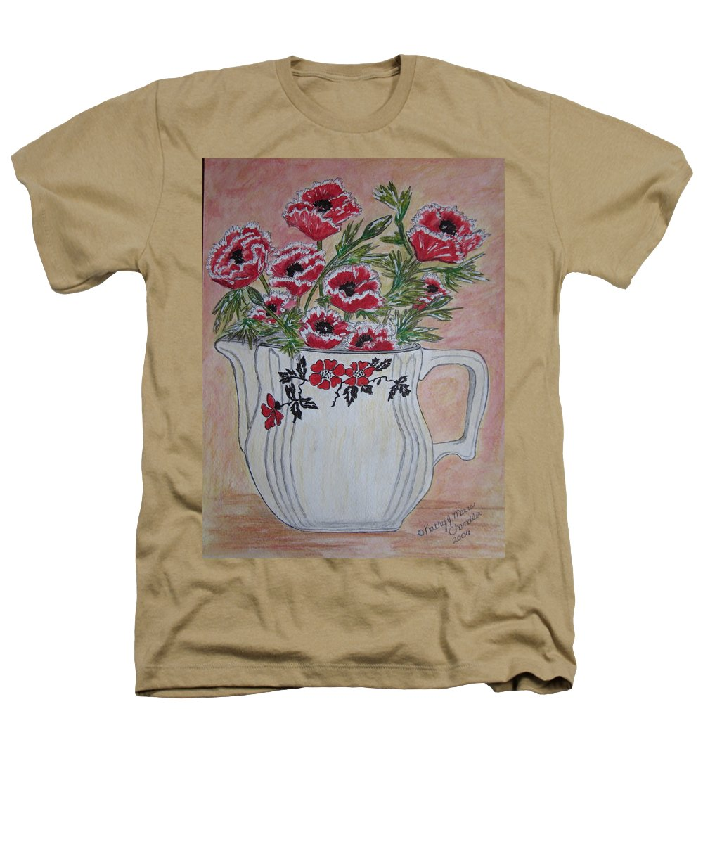 Hall China Heathers T-Shirt featuring the painting Hall China Red Poppy And Poppies by Kathy Marrs Chandler