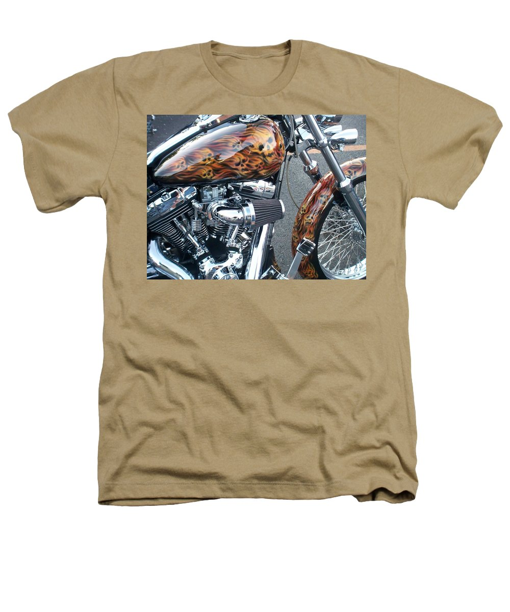 Motorcycles Heathers T-Shirt featuring the photograph Harley Close-up Skull Flame by Anita Burgermeister