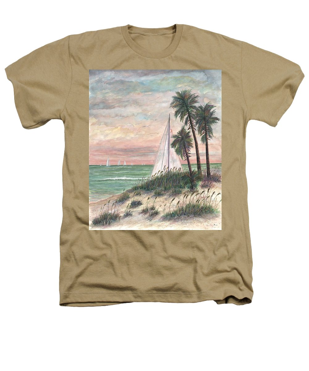 Sailboats; Palm Trees; Ocean; Beach; Sunset Heathers T-Shirt featuring the painting Hideaway by Ben Kiger