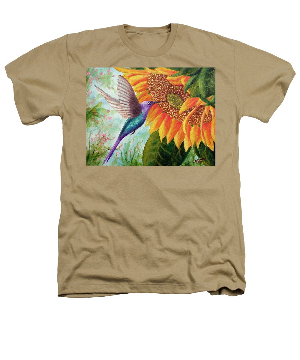Hummingbird Heathers T-Shirt featuring the painting Humming For Nectar by David G Paul