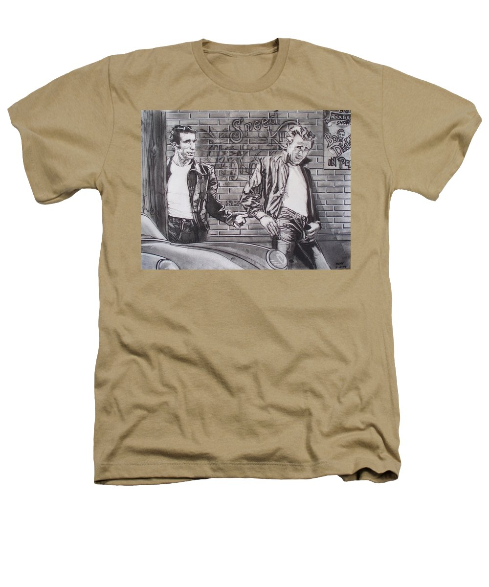 Americana Heathers T-Shirt featuring the drawing James Dean Meets The Fonz by Sean Connolly