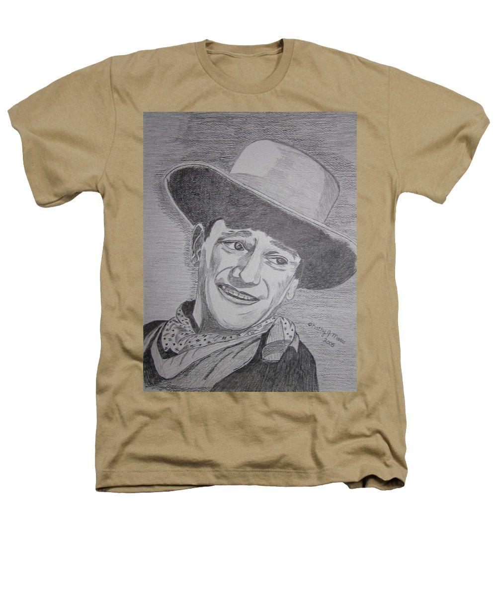 John Wayne Heathers T-Shirt featuring the painting John Wayne by Kathy Marrs Chandler