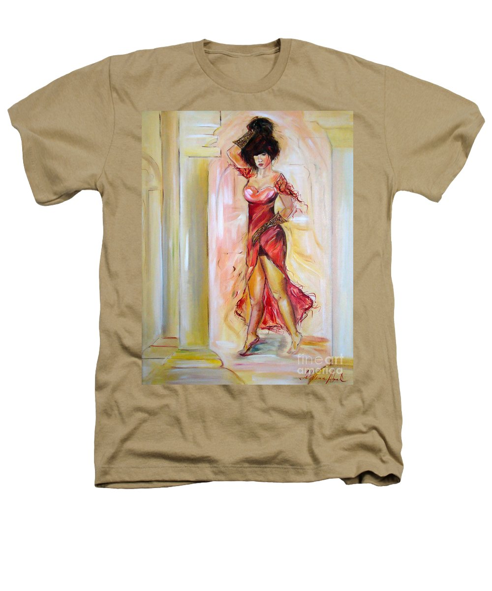 Contemporary Art Heathers T-Shirt featuring the painting Lady In Red by Silvana Abel