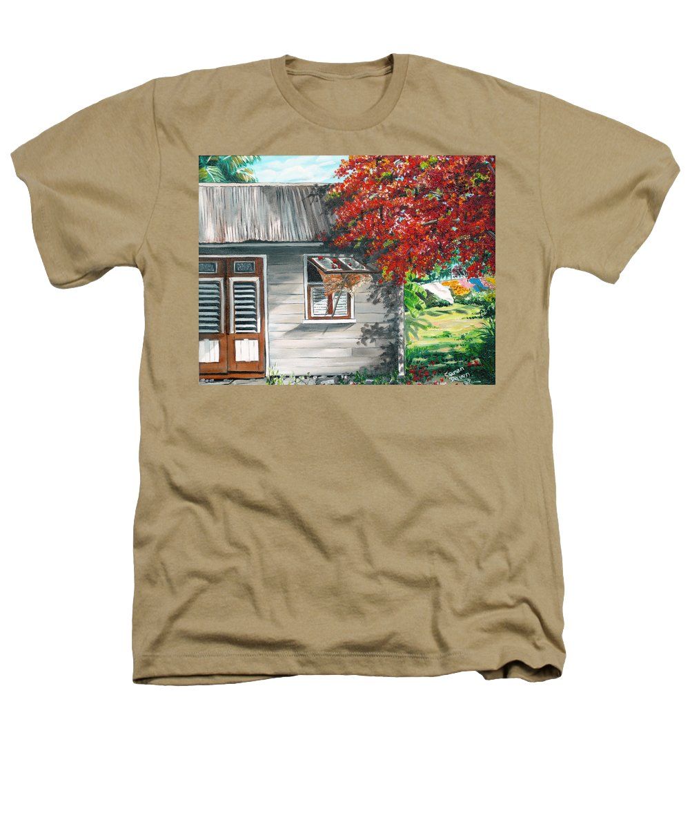 Caribbean Painting Typical Country House In The Caribbean Or West Indian Islands With Flamboyant Tree Tropical Painting Heathers T-Shirt featuring the painting Little West Indian House 1 by Karin Dawn Kelshall- Best