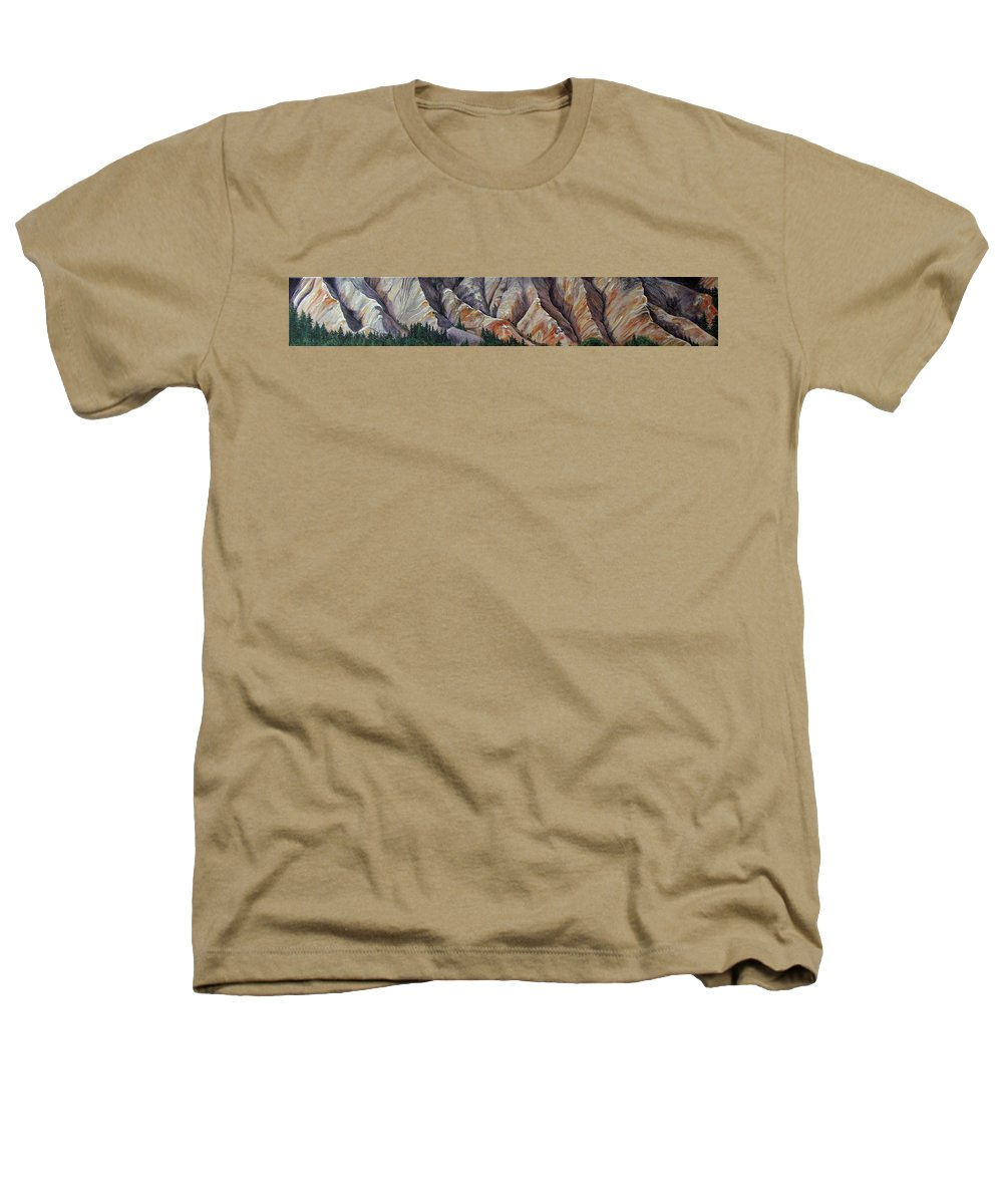 Mountains Heathers T-Shirt featuring the painting Marble Ridge by Elaine Booth-Kallweit