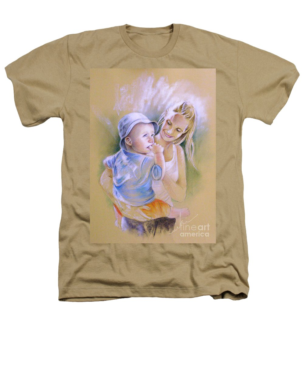 Portrait Heathers T-Shirt featuring the painting Mother And Son by Miki De Goodaboom