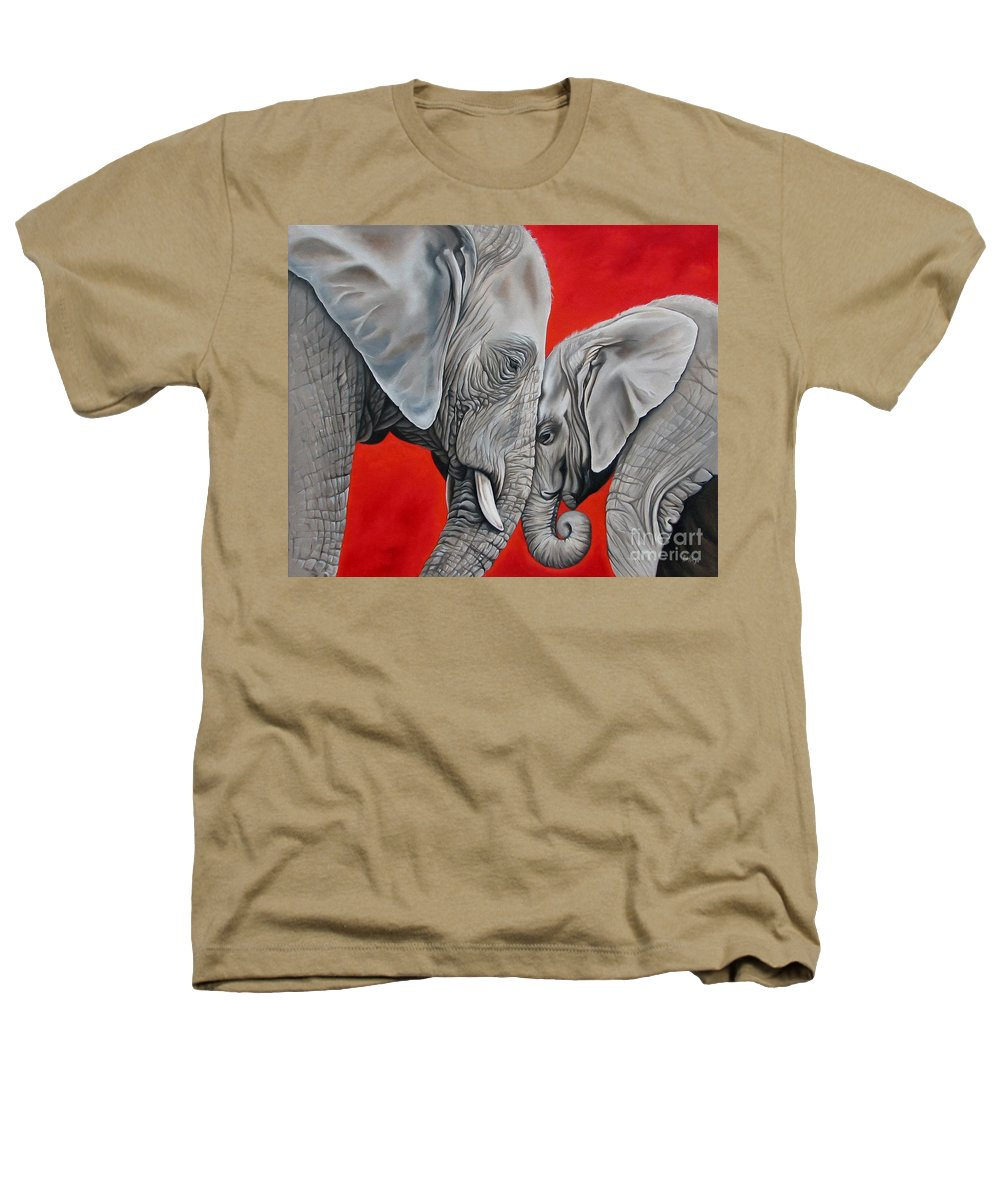 Elephant Heathers T-Shirt featuring the painting Mothers Love by Ilse Kleyn
