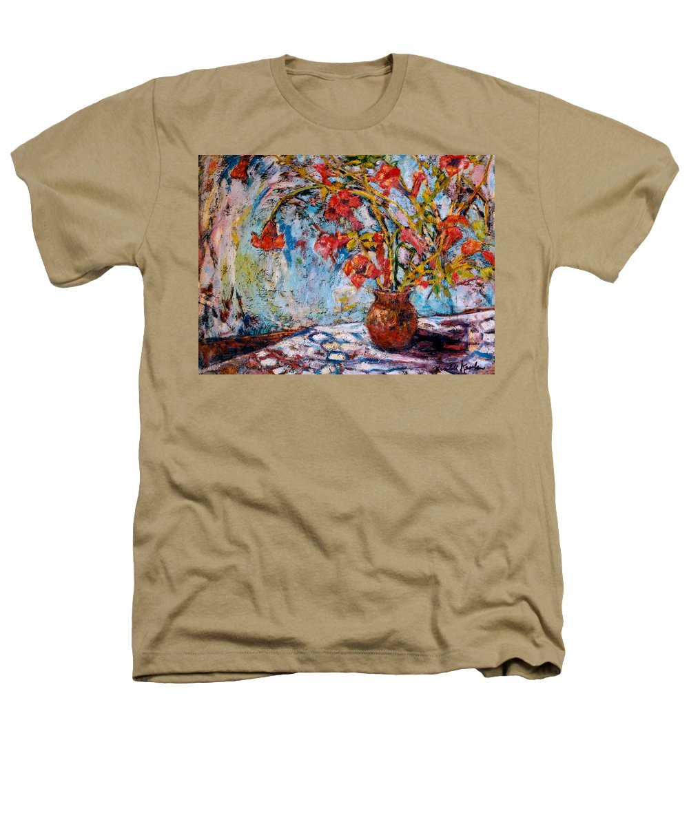 Trumpet Flowers Heathers T-Shirt featuring the painting Orange Trumpet Flowers by Kendall Kessler