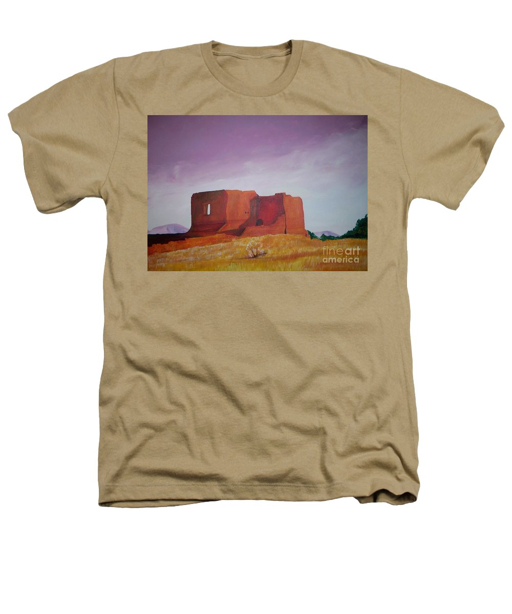 Western Heathers T-Shirt featuring the painting Pecos Mission Landscape by Eric Schiabor