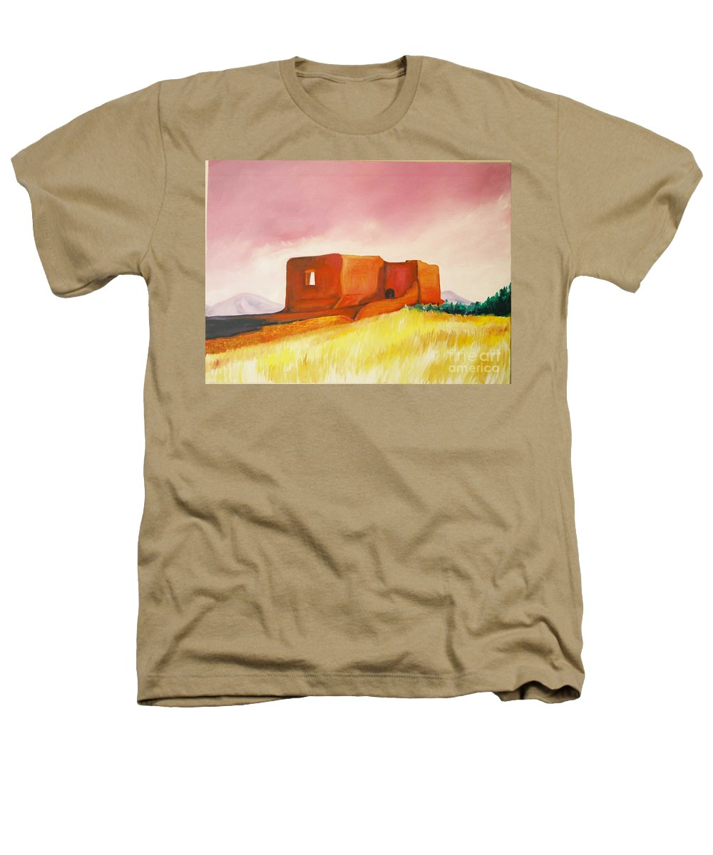Western Landscapes Heathers T-Shirt featuring the painting Pecos Mission Nm by Eric Schiabor
