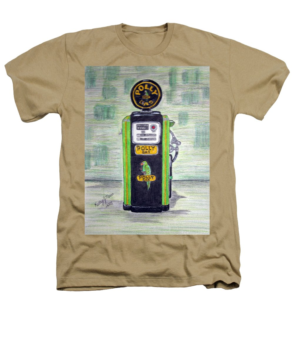 Parrot Heathers T-Shirt featuring the painting Polly Gas Pump by Kathy Marrs Chandler