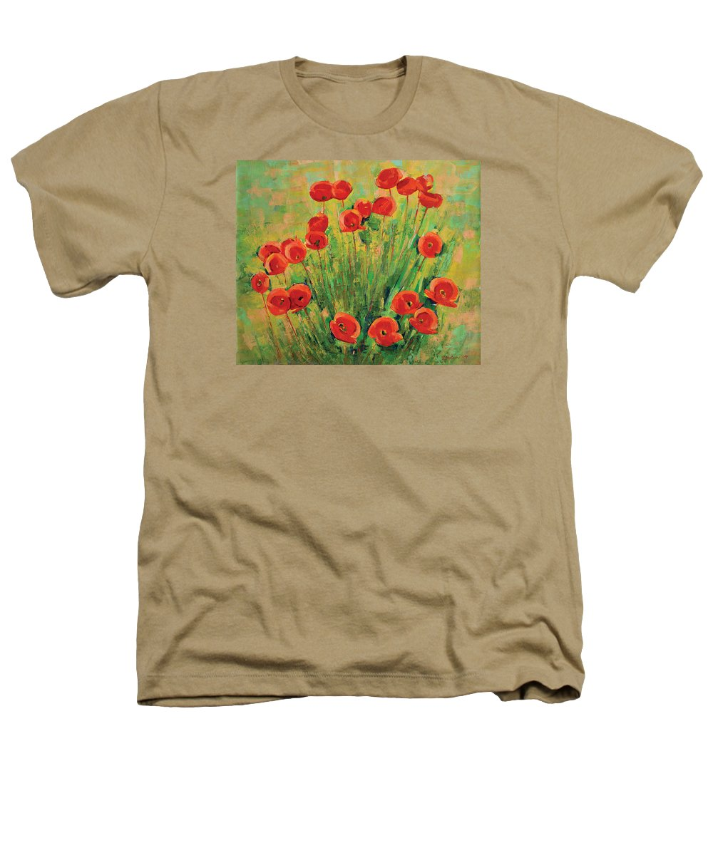Poppies Heathers T-Shirt featuring the painting Poppies by Iliyan Bozhanov