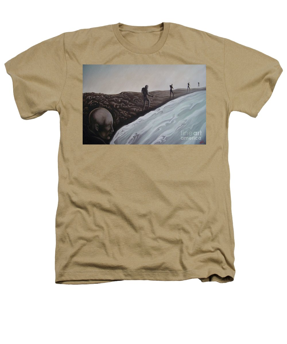 Tmad Heathers T-Shirt featuring the painting Premonition by Michael TMAD Finney
