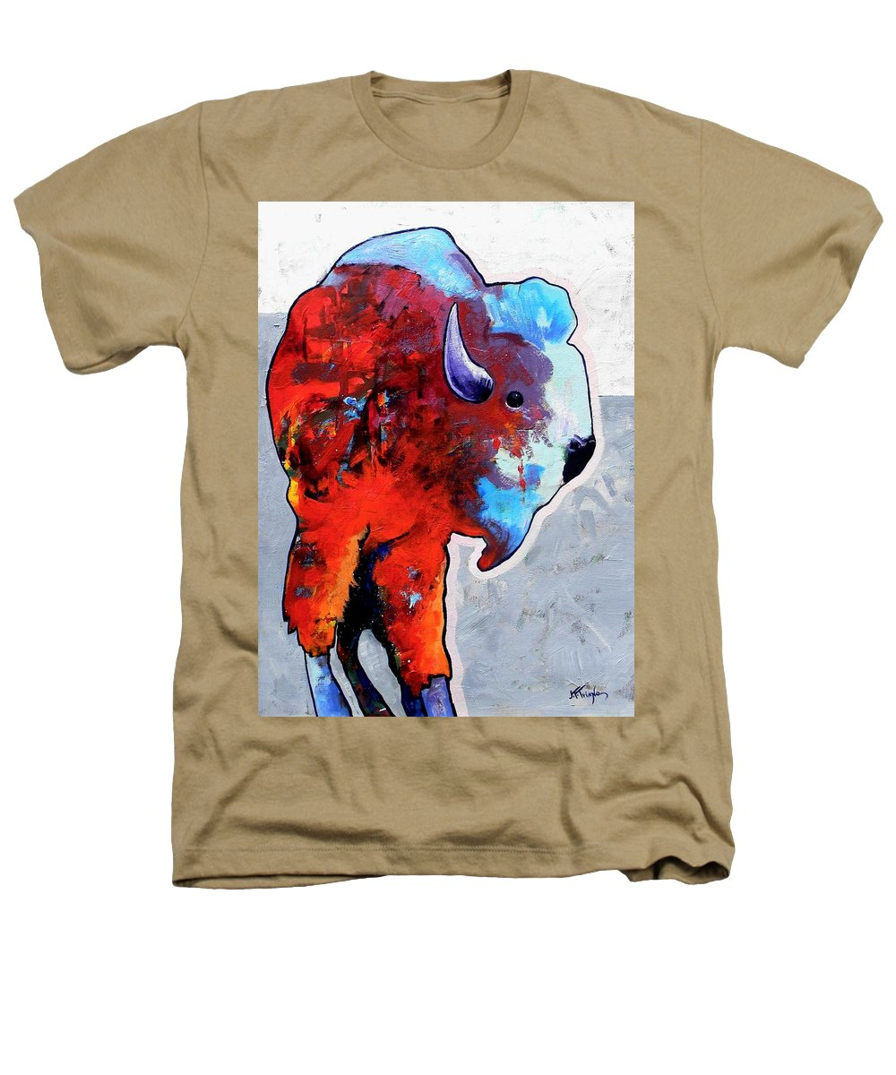 Wildlife Heathers T-Shirt featuring the painting Rainbow Warrior Bison by Joe Triano