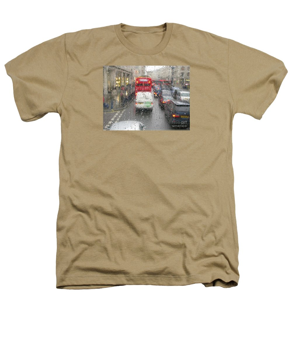 Rainy Day London Traffic By Ann Horn Heathers T-Shirt featuring the photograph Rainy Day London Traffic by Ann Horn