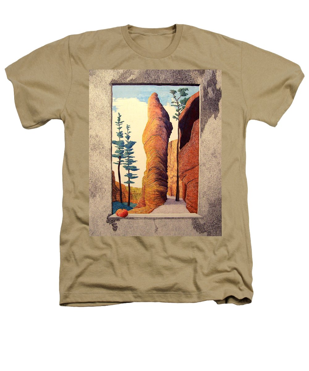 Landscape Heathers T-Shirt featuring the painting Reared Window by A Robert Malcom