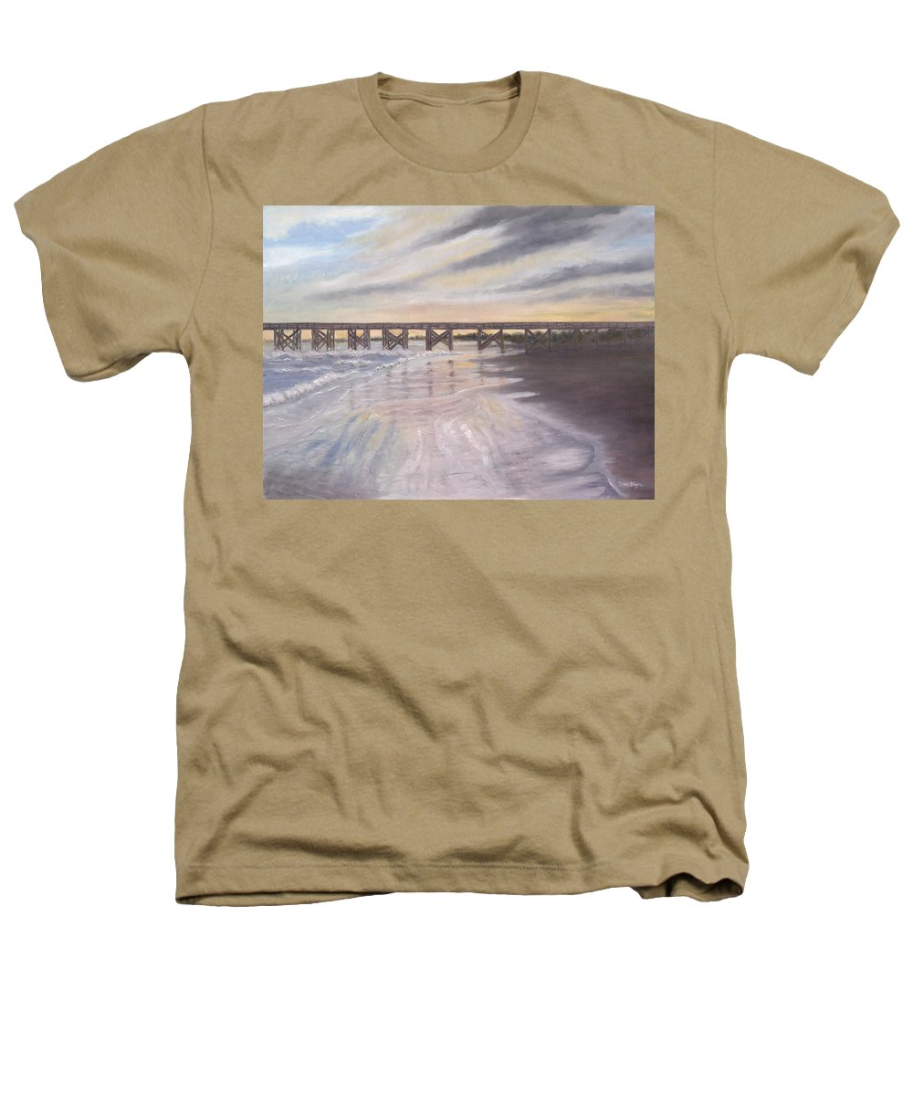 Beach; Pier; Low Country Heathers T-Shirt featuring the painting Reflections by Ben Kiger