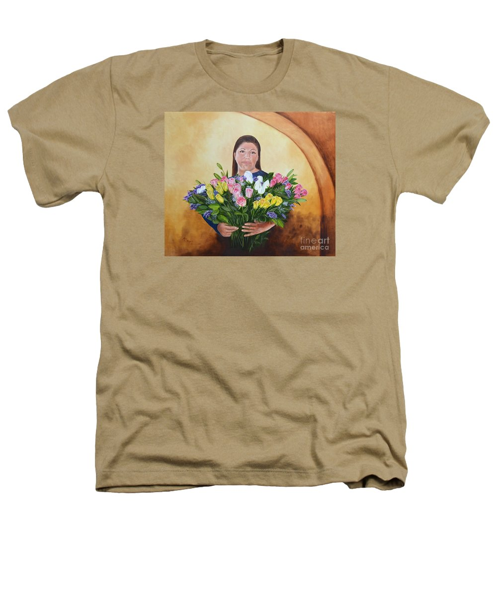 People Heathers T-Shirt featuring the painting Rosa's Roses by Mary Rogers