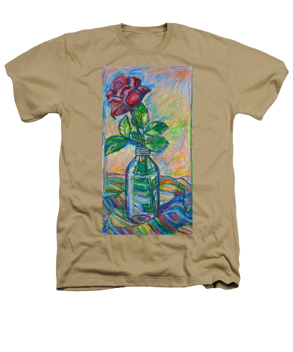 Still Life Heathers T-Shirt featuring the painting Rose In A Bottle by Kendall Kessler