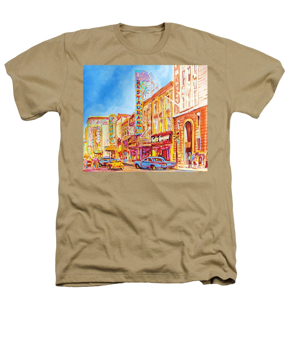 Paintings Of Montreal Heathers T-Shirt featuring the painting Saint Catherine Street Montreal by Carole Spandau