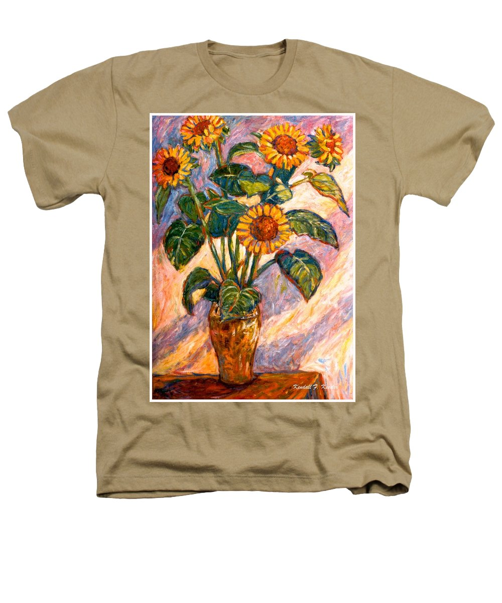 Floral Heathers T-Shirt featuring the painting Shadows On Sunflowers by Kendall Kessler