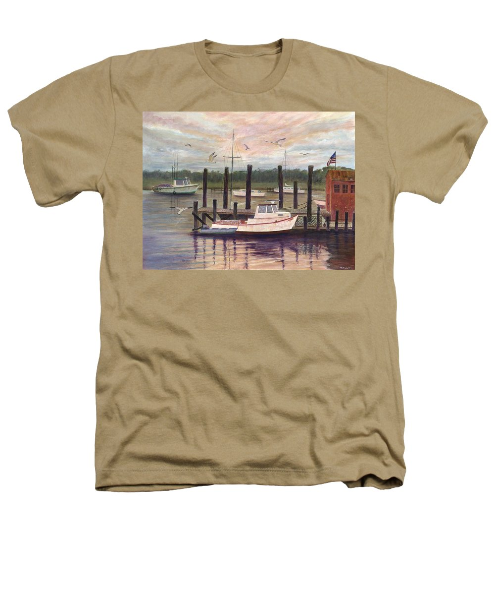 Charleston; Boats; Fishing Dock; Water Heathers T-Shirt featuring the painting Shem Creek by Ben Kiger