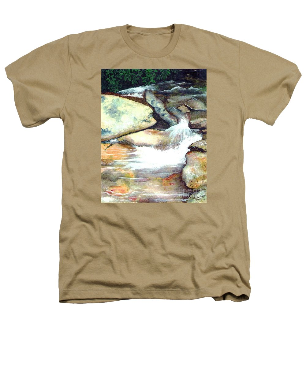 Fine Art Heathers T-Shirt featuring the painting Smoky Mountains Waterfall by Patricia Griffin Brett