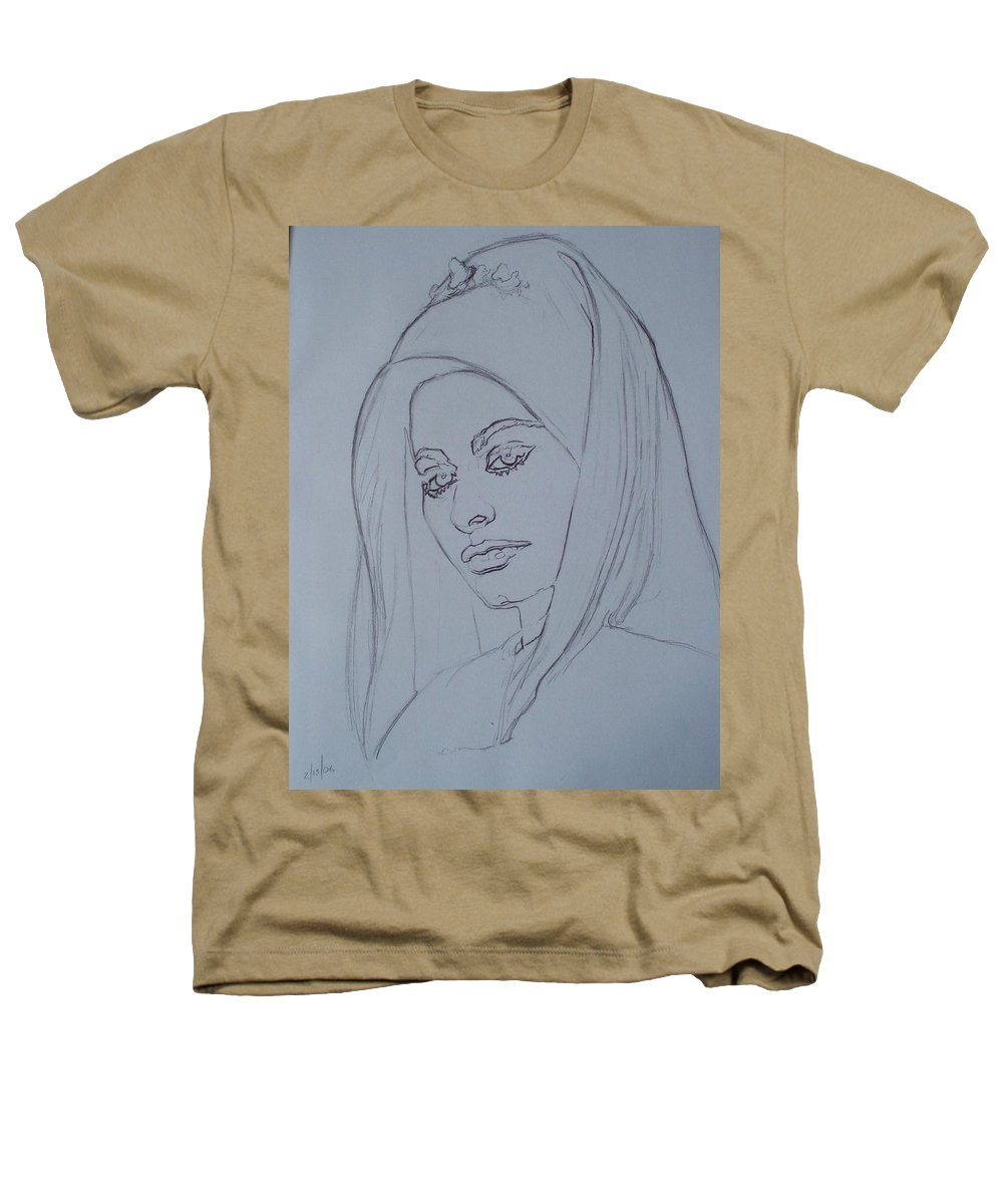 Woman Heathers T-Shirt featuring the drawing Sophia Loren In Headdress by Sean Connolly